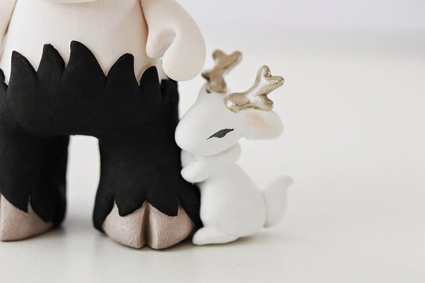 Munny faun in black with elf and jackalope bunny mijbil faun