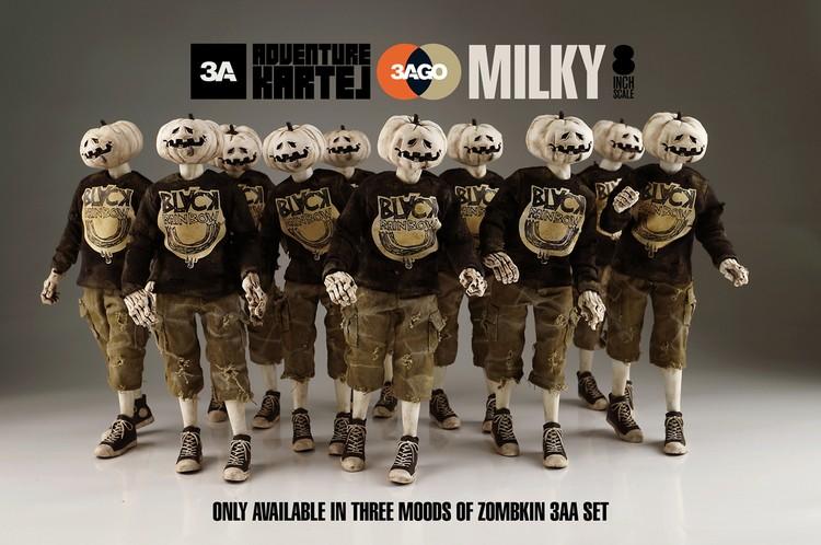 ThreeA Ashley Wood worldofthree A3AGO CHARKIN ZOMBKIN AND MILKY line up milky