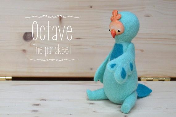 Octave the parakeet - Designer plush by Monster Pie Toys