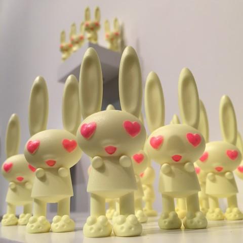 Yellow Sunshine Eye Heart Bunnies By Peter Kato