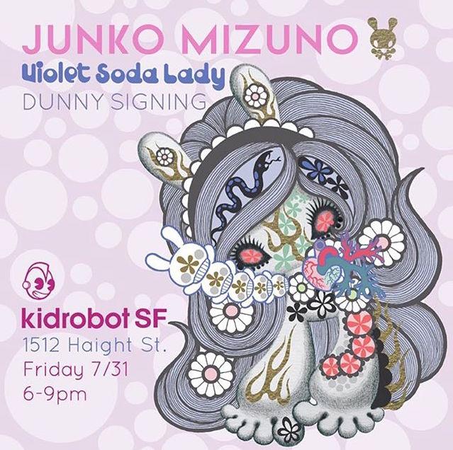 Kidrobot SF Junko Mizuno Dunny 2015 Signing Violet Soda Lady