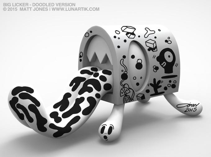 The Big Licker Vinyl Art Toy Kickstarter by Matt Lunartik JOnes doodled