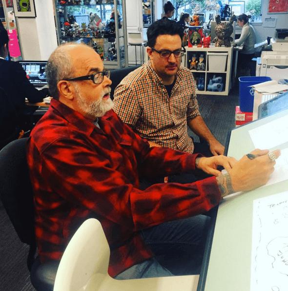 Kozik and concept artist for Kidrobot Josh Divine at Kidrobot HQ