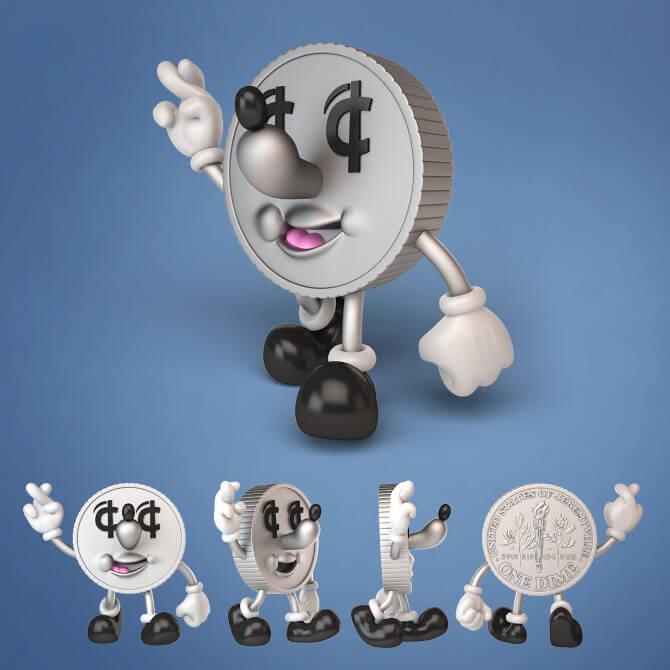 LUCKY DOLLAR Money banks by Jeremyville x Kidrobot x bigshottoyworks cent