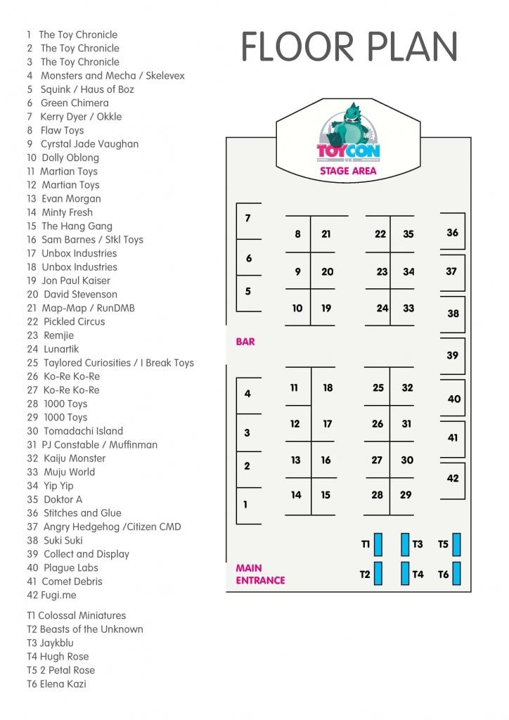 ToyConUK 2016 Artist Floor Plan
