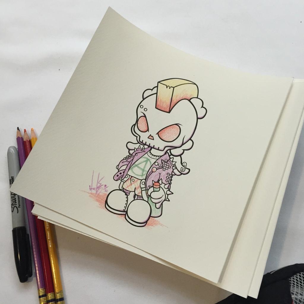 UK Punk Skullhead Coloring