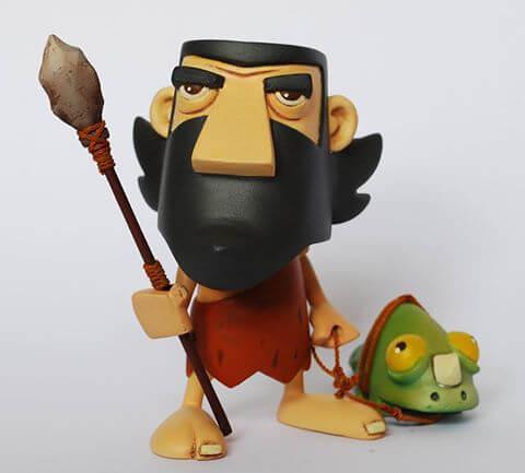 Black Toy caveman and dino